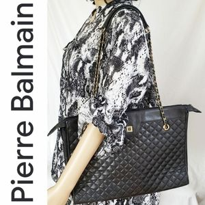 Pierre Balmain Quilted Black Tote Purse